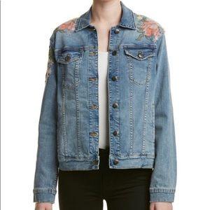 Joe's jeans denim jacket orange embroidered flower